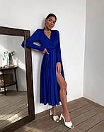 Жіночне шовкове плаття з кроєм на запах, 00617 (Темно-синій), Розмір 44 (M), фото 2
