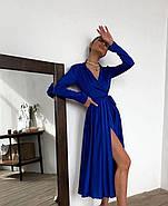 Жіночне шовкове плаття з кроєм на запах, 00617 (Темно-синій), Розмір 44 (M), фото 3