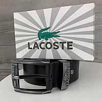 Мужской кожаный классический ремень пояс Lacoste Лакоста брендовый из натуральной кожи
