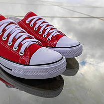 Красные женские кеды конверсы на белой подошве converse летние тканевые кроссовки, фото 3