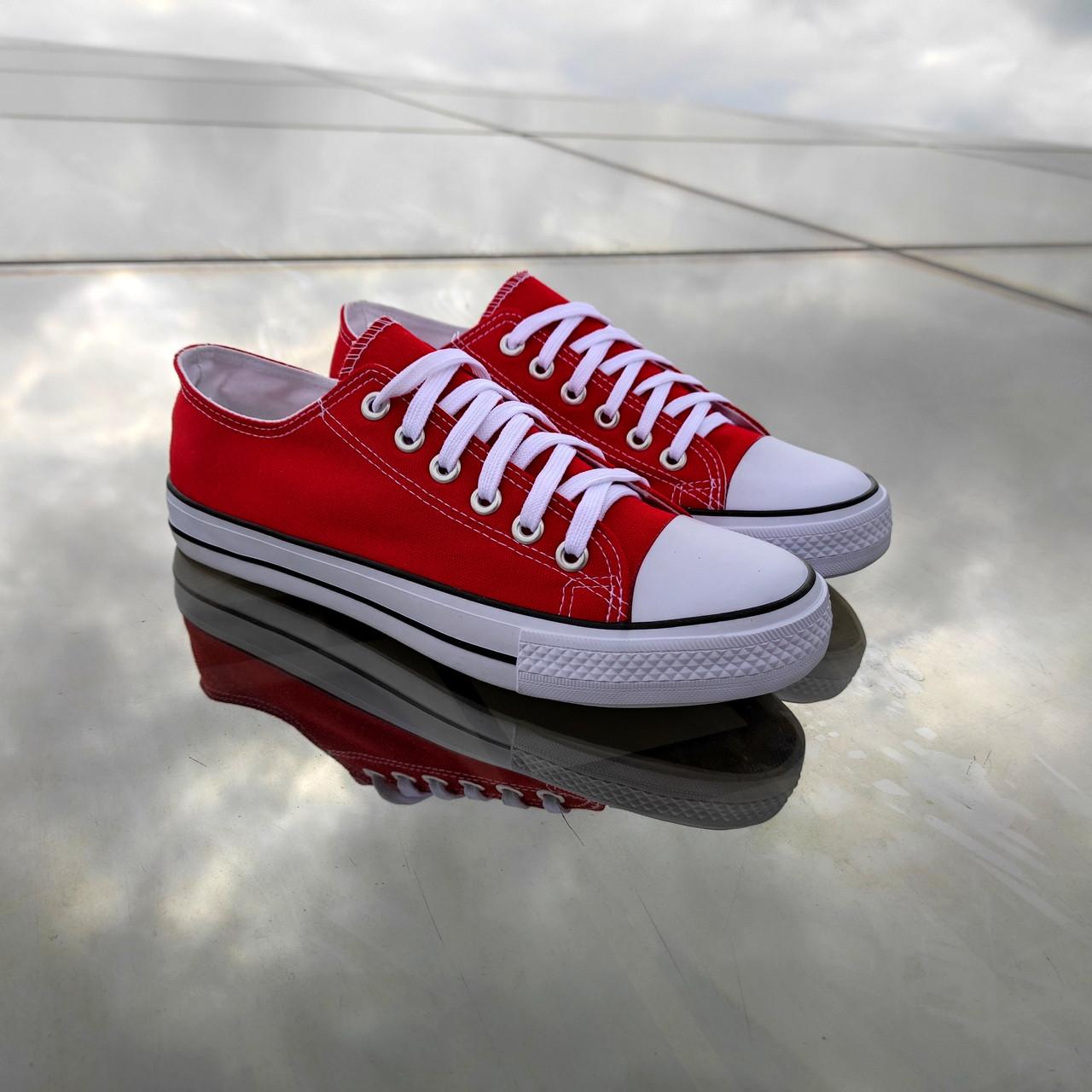 Красные женские кеды конверсы на белой подошве converse летние тканевые кроссовки