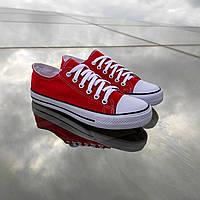 Червоні чоловічі кеди конверси на білій підошві converse літні тканинні кросівки