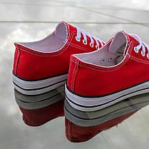 Красные женские кеды конверсы на белой подошве converse летние тканевые кроссовки, фото 2
