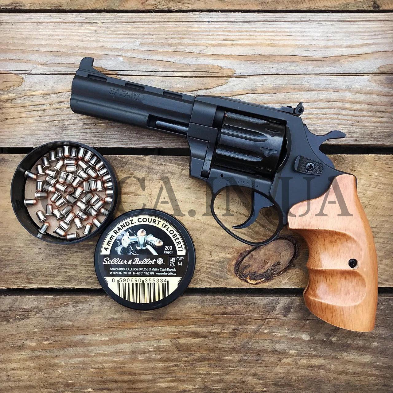 Револьвер ЛАТЭК Safari РФ-441М + 50 патронов флобер 4 мм (бук)