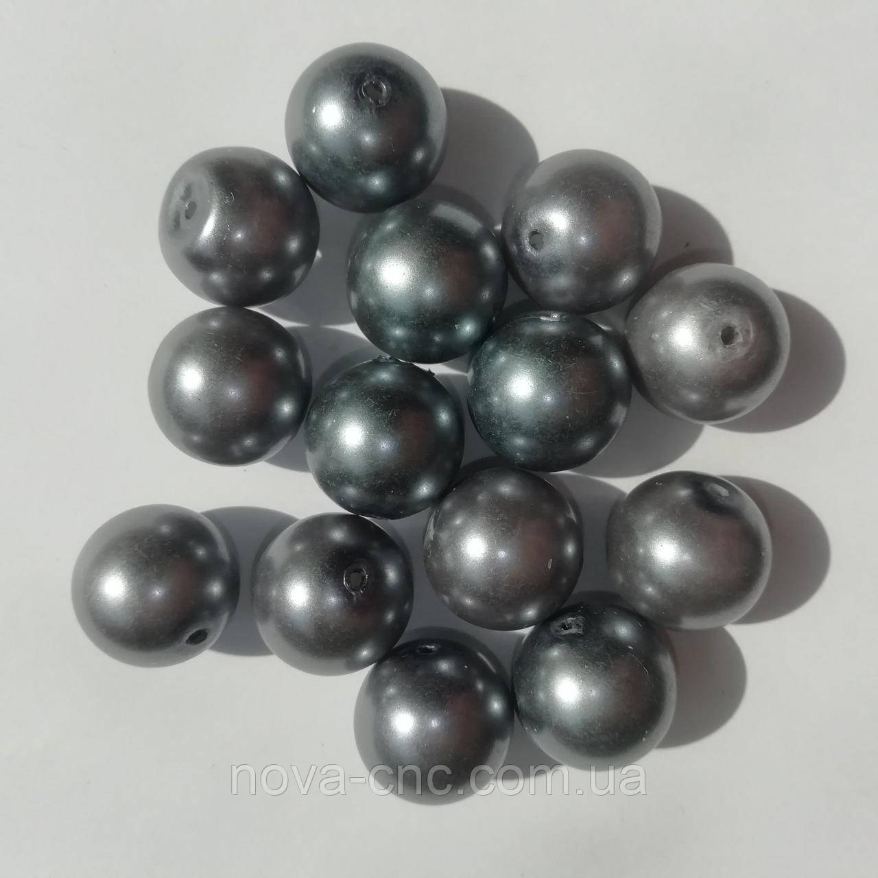 Бусины керамические диаметр 14 мм Цвет серый 500 грамм