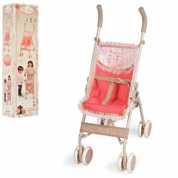 Складная коляска трость для кукол с поворотными колесами и подножкой Коляска-прогулка для кукол коралловая