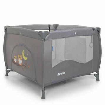 Детский манеж кроватка для ребенка с дверцей на молнии El Camino серый Манеж ребенку для игр или сна