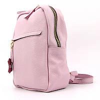 Рюкзак кожаный розовый ручная работа Viladi 060
