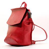 Рюкзак-сумка кожаный ручная работа красный Viladi 092