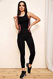 Спортивный костюм женский для фитнеса и спорта  (черный с розовым, р.S-M), фото 2