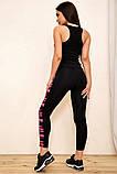 Спортивный костюм женский для фитнеса и спорта  (черный с розовым, р.S-M), фото 7