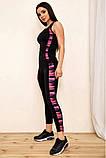Спортивный костюм женский для фитнеса и спорта  (черный с розовым, р.S-M), фото 6