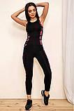 Спортивный костюм женский для фитнеса и спорта  (черный с розовым, р.S-M), фото 5