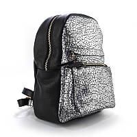 Рюкзак кожаный черный с серебром ручная работа Viladi 071