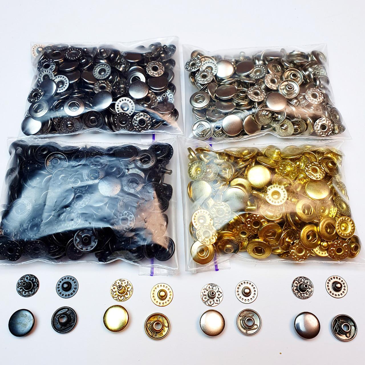 Кнопки для одежды Альфа 10.5мм. (VT-2),Кнопки для кошельков. ( 4 цвета по 25 шт.)