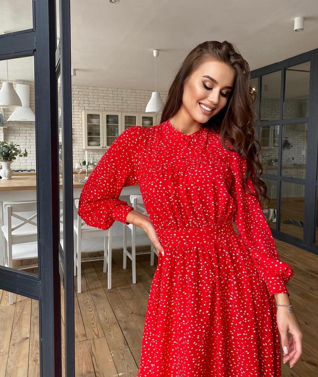 Трендовое платье с асимметричной юбкой весна лето 2021, 00627 (Красный), Размер 44 (M)