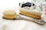 Старинный набор Щеток щетка для волос и щетка для одежды ткань, вышивка, дерево, Англия, винтаж, фото 9