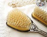 Старинный набор Щеток щетка для волос и щетка для одежды ткань, вышивка, дерево, Англия, винтаж, фото 5