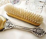 Старинный набор Щеток щетка для волос и щетка для одежды ткань, вышивка, дерево, Англия, винтаж, фото 8