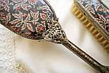 Старинный набор Щеток щетка для волос и щетка для одежды ткань, вышивка, дерево, Англия, винтаж, фото 4