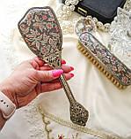 Старинный набор Щеток щетка для волос и щетка для одежды ткань, вышивка, дерево, Англия, винтаж, фото 7