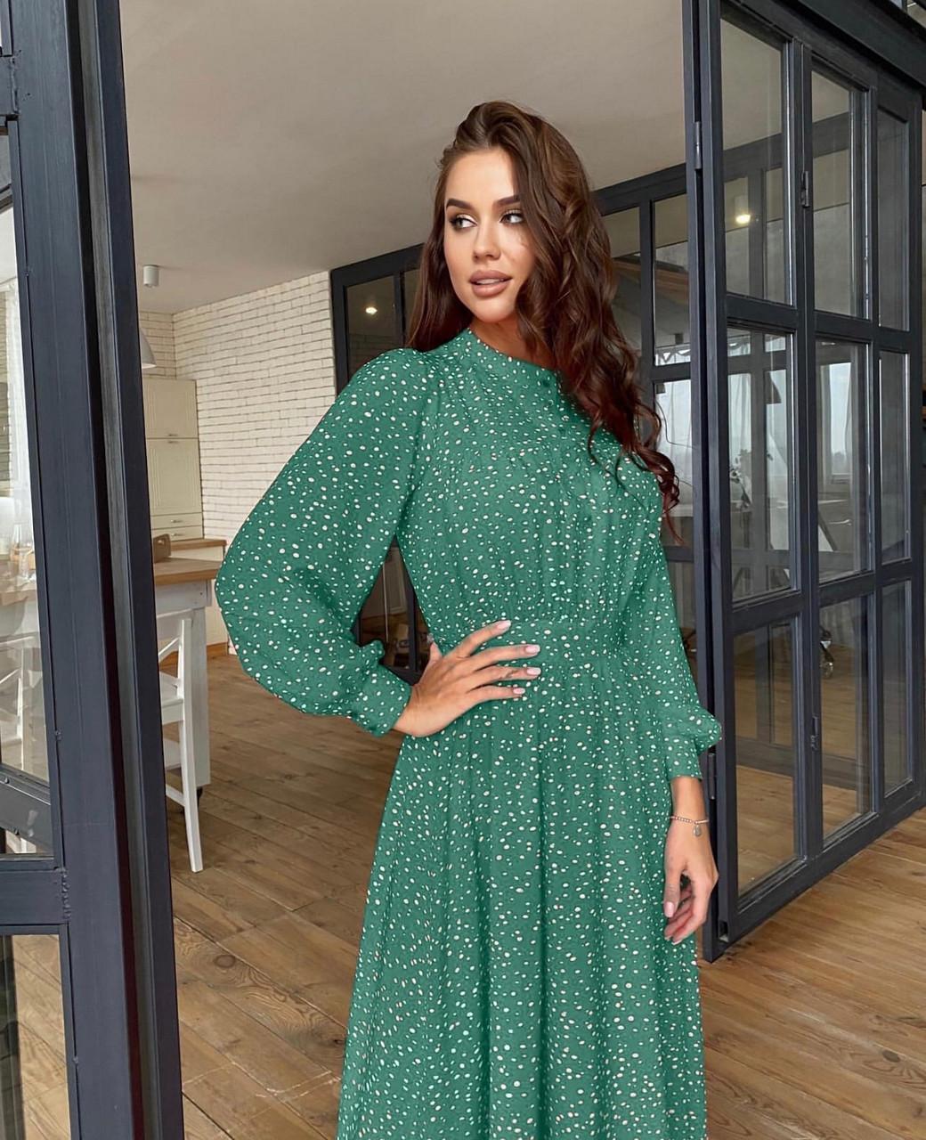 Легке повітряне плаття з софта з довгим рукавом, 00626 (Оливковий), Розмір 46 (L)