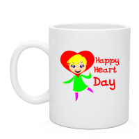 Нанесение прикольных надписей на чашки  Happy Heart Day