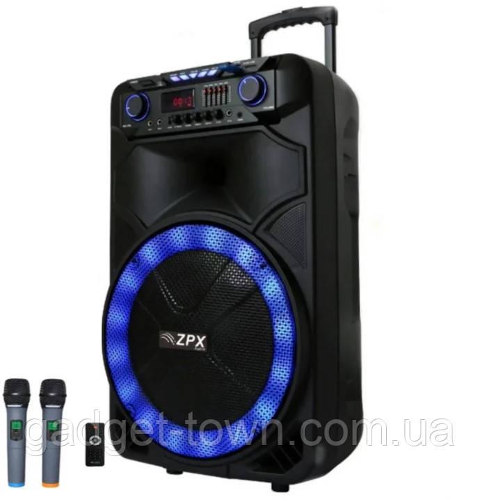 Колонка акумуляторна з двома мікрофонами ZPX ZX-7766 200W (Bluetooth/USB/FM/TWS)