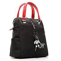 Сумка-рюкзак женская текстильная черная с красным Prada 1721