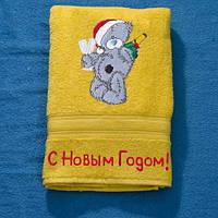 Полотенце новогоднее с мишкой и Вашей надписью, фото 1