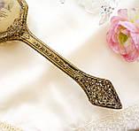 Старовинна бронзова щітка для волосся, щітка з ручкою, бронза, тканина, вишивка, дерево, Англія, вінтаж, фото 3