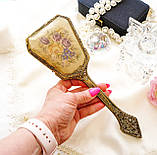 Старовинна бронзова щітка для волосся, щітка з ручкою, бронза, тканина, вишивка, дерево, Англія, вінтаж, фото 7
