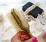 Старовинна бронзова щітка для волосся, щітка з ручкою, бронза, тканина, вишивка, дерево, Англія, вінтаж, фото 8