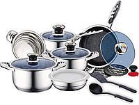 Набор посуды, кастрюль Royalty Line RL-16RGNM (Швейцария, нержавеющая сталь, 16 шт, термодатчик)