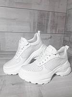Білі масивні кросівки з натуральної шкіри. Білі масивні шкіряні кросівки., фото 1