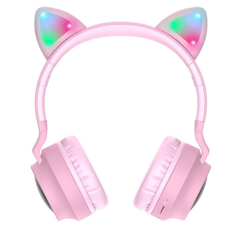 Навушники Bluetooth HOCO Cheerful Cat ear W27, рожеві