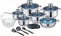 Набор посуды, кастрюль Royalty Line RL-1801B (Швейцария, нержавеющая сталь, 18 шт, термодатчик)