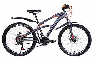 """Велосипед двухподвесной 24"""" Formula Blaze DD 2021 рама 14"""" серо-оранжевый"""