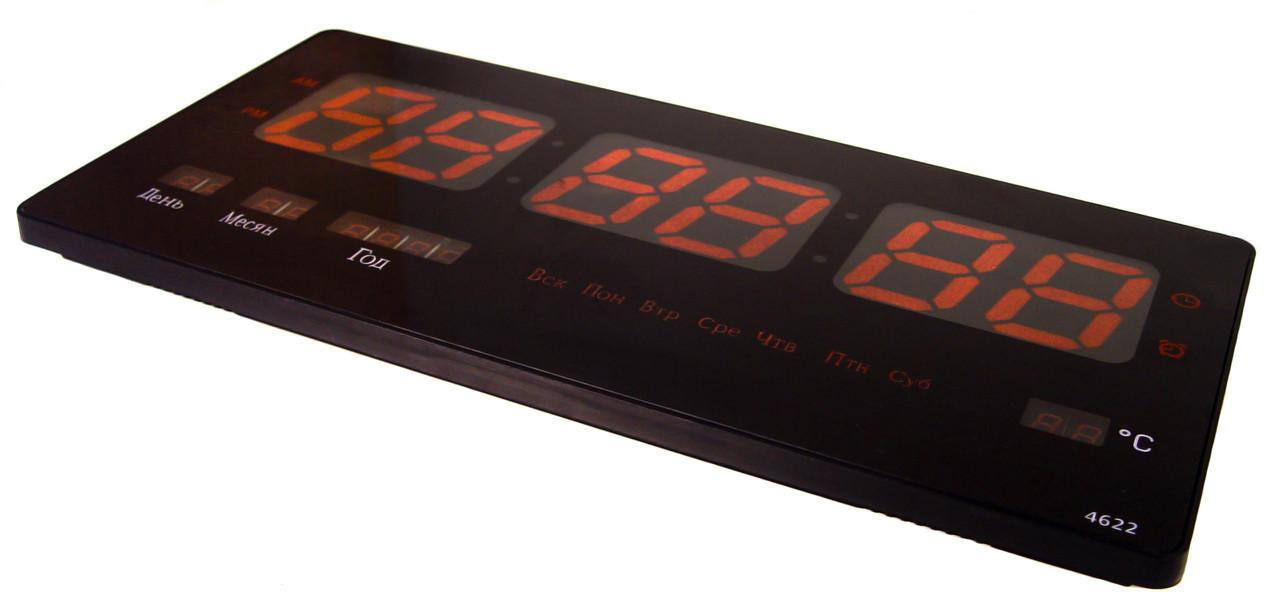 Настенные LED часы CW 4622 с красной подсветкой, черные