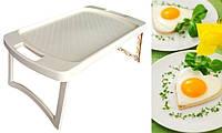Столик поднос для завтрака в постель многофункциональный раскладной пластиковый Столик для ноутбука