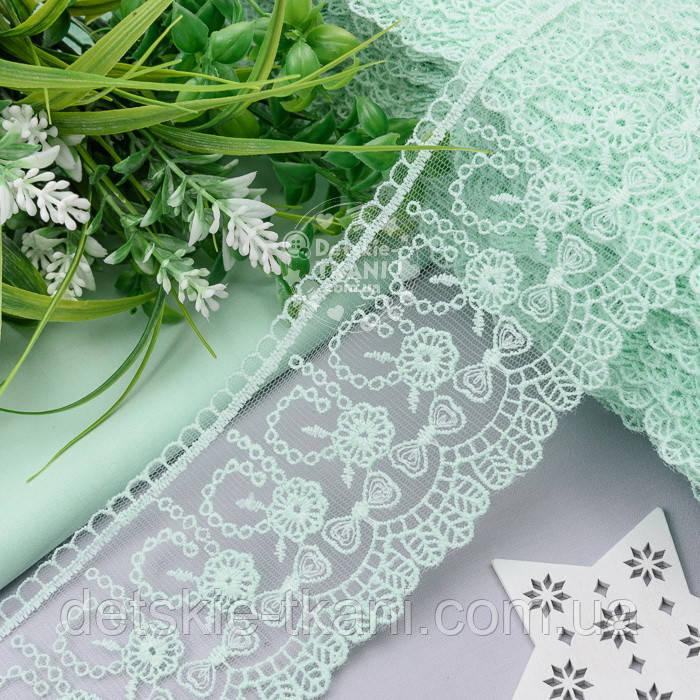 Набір мережива з квіточками і бантиками м'ятного кольору, ширина 8 см (в наборі 3 відрізи)