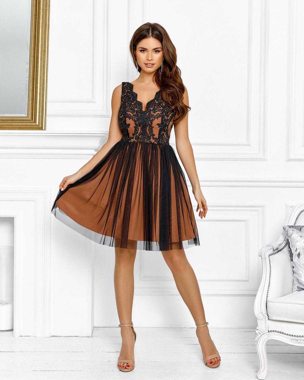 Нарядне ніжне плаття на випускний в ляльковому стилі, 00635 (Бежевий), Розмір 44 (M)