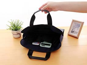 Темно-синя сумка А4 з тканини, фото 3