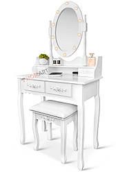 Туалетний столик із дзеркалом та підсвічуванням Homart Tioli білий + табурет (9363)