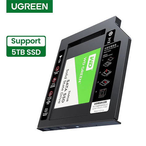 Кишеня для SSD/HDD UGREEN CM322 Caddy 9.5 мм SATA, фото 2