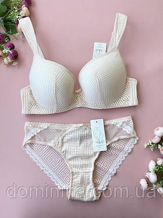 95D Бежевый удобный и сексуальный комплект нижнего белья на большой размер груди, фото 2
