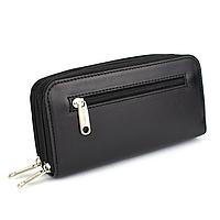 Жіночий шкіряний гаманець на 2 блискавки подвійний Varvara-2 (чорний)