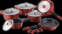 Набор посуды, кастрюль Royalty Line RL-ES2014M Burgundy (Швейцария, литой алюминий, 14 шт)