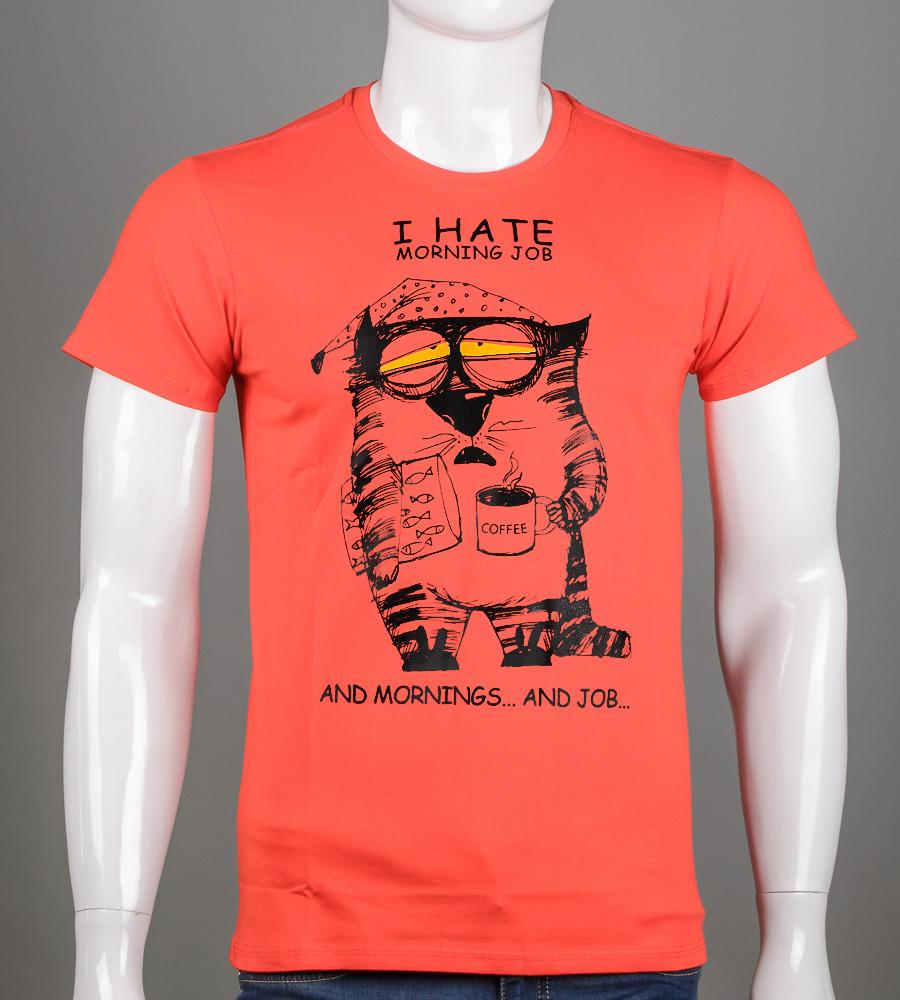Футболка чоловіча Ранковий кіт (2064м), Червоний