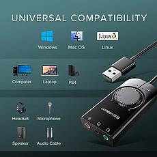 UGREEN CM129 внешняя звуковая карта USB стерео с регулятором громкости, фото 3